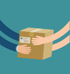 courier hands parcel to customer delivery concept vector image