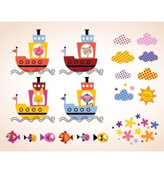 cute animals in boats kids design elements set vector image