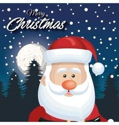 cute face santa claus card merry christmas vector image