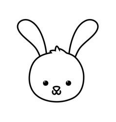 cute rabbit head cartoon icon thick line vector image