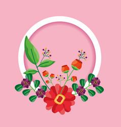 decorative frame flowers leaves decoration vector image