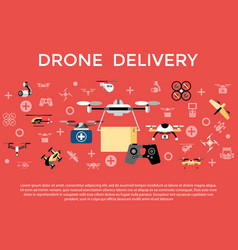 digital flying drone objects color vector image