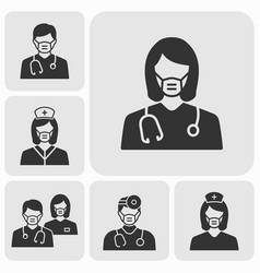 Doctor wearing a mask icons set vector
