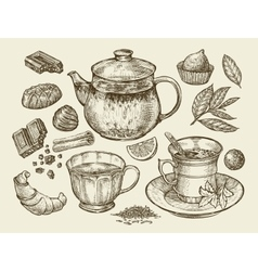 Drinks and food Hand drawn tea coffee teapot vector
