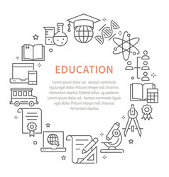 education outline icons set for interface print vector image