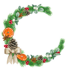 elegant watercolor christmas wreath vector image
