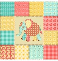 Elephant patchwork pattern vector image