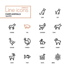 Farm animals - line design icons set vector