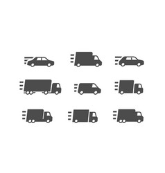 fast delivery transport transportation icon set vector image