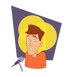 Fear of public speaking icon cartoon style vector