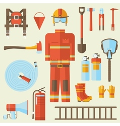 Firefighter uniform and first help equipment and vector
