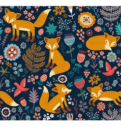 Foxy pattern dark vector image