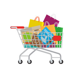 Full shopping trolley with different purchases vector