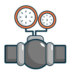 Gauges on pipeline icon cartoon style vector