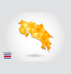 geometric polygonal style map of costa rica low vector image