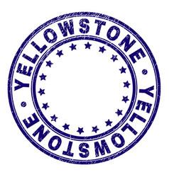 Grunge textured yellowstone round stamp seal vector