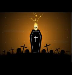 Halloween coffin graveyard skull thunderbolt vector