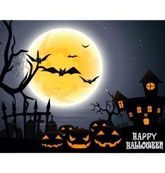 Halloween party on full moon vector image