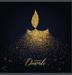 happy diwali diya design made with glowing vector image