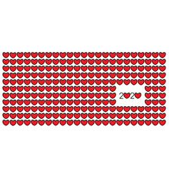 happy new year 2020 red hearts vector image