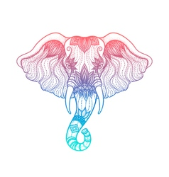 head elephant line art boho design indian vector image