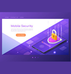 Isometric web banner shield with lock and finger vector