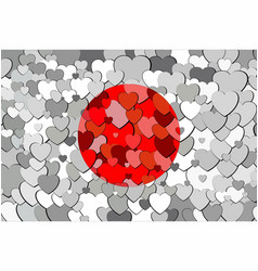 japan flag made of hearts background vector image