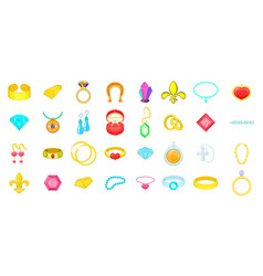 Jewerly icon set cartoon style vector