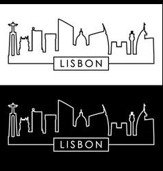 Lisbon skyline linear style editable file vector