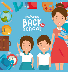 little kids with school supplies and teachers vector image