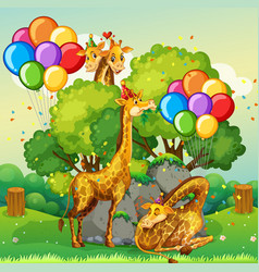 many giraffes in party theme in nature forest vector image