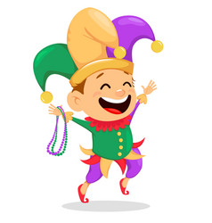 Mardi gras jester holding necklaces vector