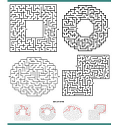 maze games diagrams set with solutions vector image