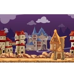 Medieval city seamless landscape background vector