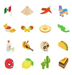 Mexico isometric 3d icons vector image