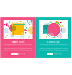 modern design of web posters with buttons vector image