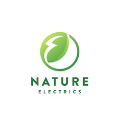 nature electric leaf logo icon template vector image