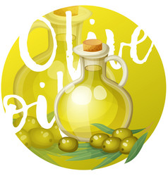 Olive oil in bottle cartoon icon on bright vector