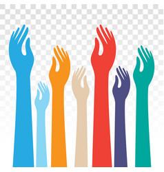 People raised hands kids raising hands flat vector