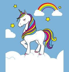 Pretty unicorn card vector