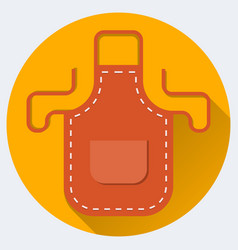 Red apron with shadow on orange circle in flat vector