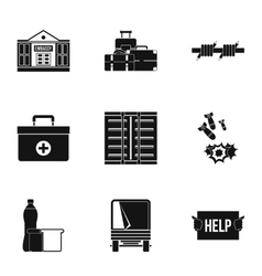 Refugees icons set simple style vector