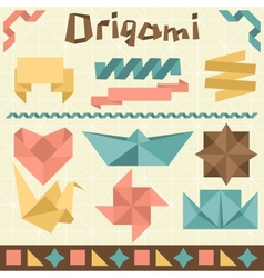 Retro origami set with design elements vector image