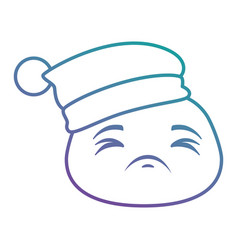Sad emoji face with sleeping hat vector