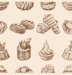 seamless background various brownies sketches vector image