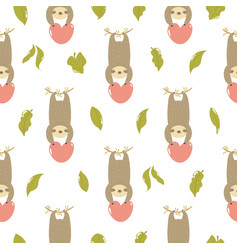 Seamless pattern with cute sloths hanging on a vector