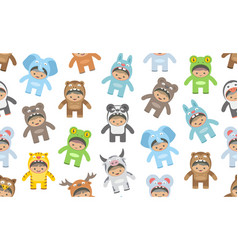 seamless pattern with kids in animals costumes vector image