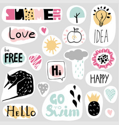 Set funny stickers in cartoon style vector