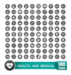 Set of 100 icons of health and medical with circle vector