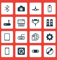 Set of 16 computer hardware icons includes cd-rom vector